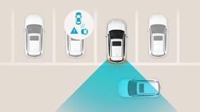 Advarsel for bagved krydsende trafik med stopfunktion